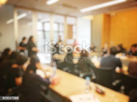 873776668 istock photo Education or Business concept of blurred image of people brandstorming and discussion during workshop and seminar in training room at university. 825047068