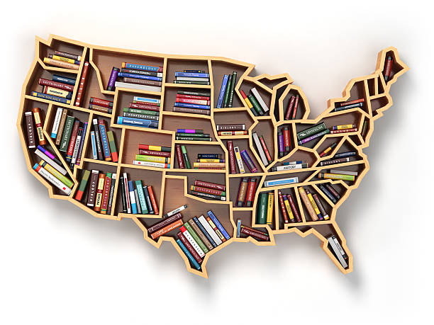 usa education or market of books. book shelf  usa map - literature stock pictures, royalty-free photos & images