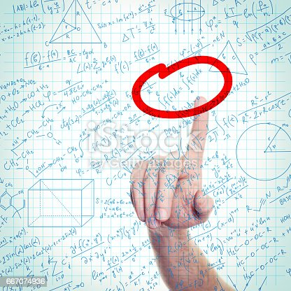 1168035793 istock photo Education or Science Background with Hand and Formulas on Notepad Page 667074936