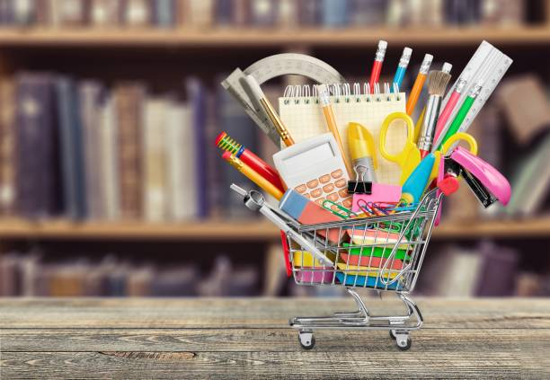 Education. Stationery objects in mini supermarket cart office equipment stock pictures, royalty-free photos & images