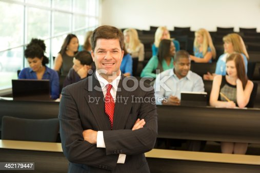 istock Education: Professor with college students in lecture hall. 452179447