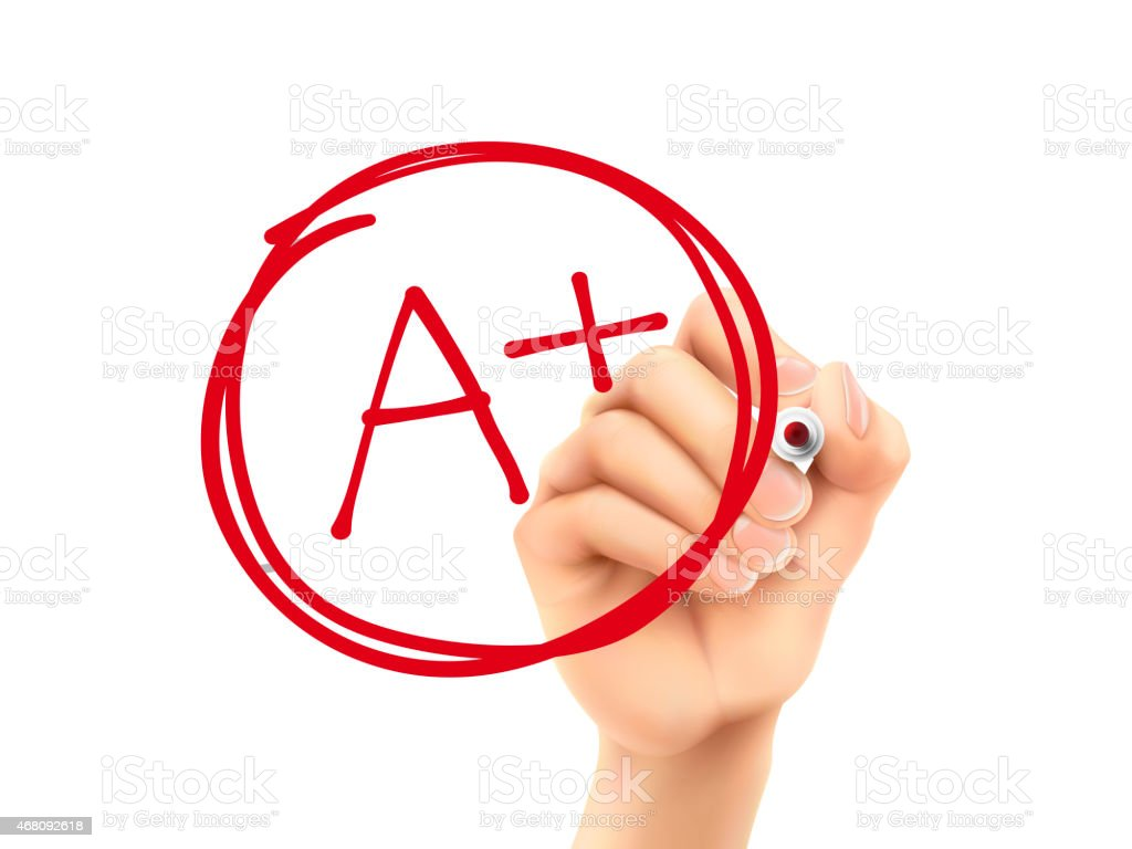 education rating A plus written by 3d hand stock photo
