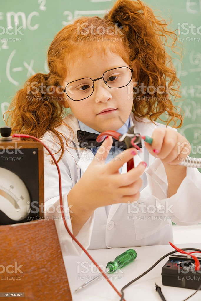 Education:  Retro revival scientist in lab.  Electronics. royalty-free stock photo