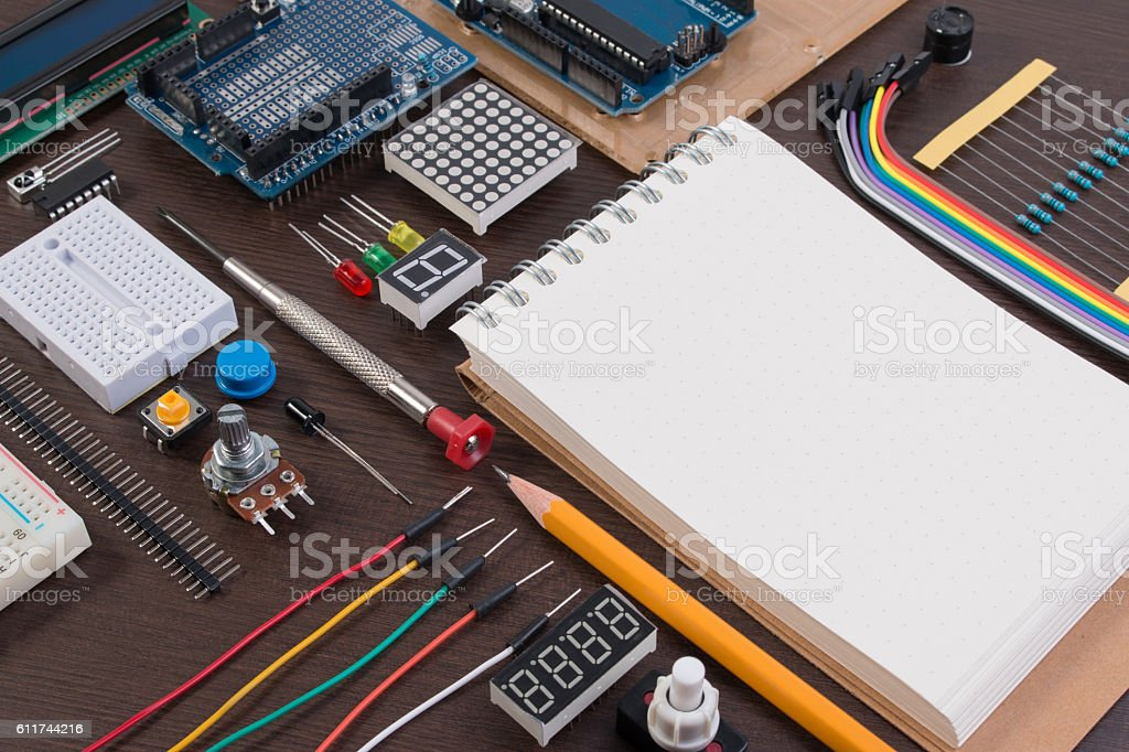 STEM education, Robot made on base of microcontroller with varie stock photo
