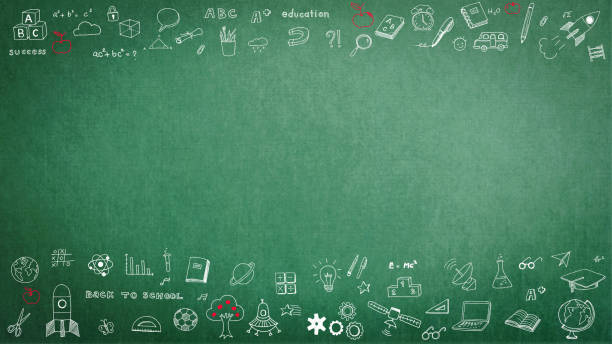 Education school black chalkboard with copy space - foto stock