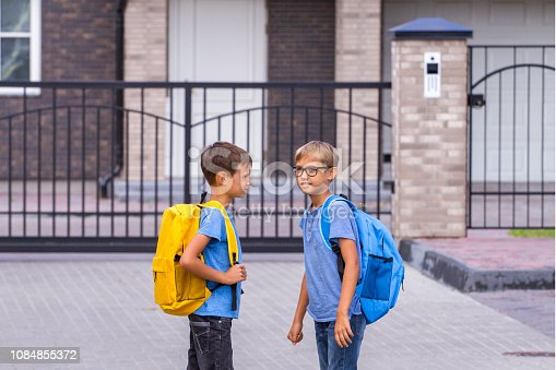 istock Education, school, friendship concept - two boys with backpacks talking after school outdoors 1084855372