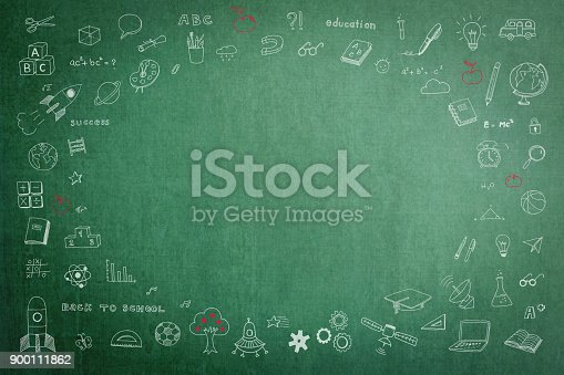 istock Education school green chalkboard with copy space 900111862