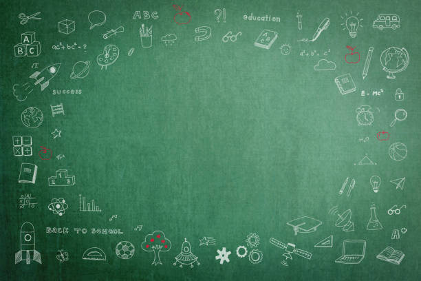 education school green chalkboard with copy space - teachers day stock photos and pictures