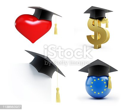 941829872 istock photo Education set Graduation hat on a white background 3D illustration, 3D rendering 1138552027