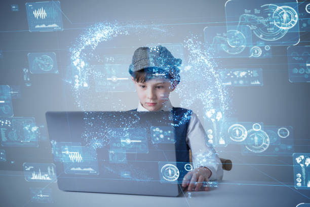 Education technology concept. Schoolboy learning in the room. Online school. EdTech. Education technology concept. Schoolboy learning in the room. Online school. EdTech. digital native stock pictures, royalty-free photos & images