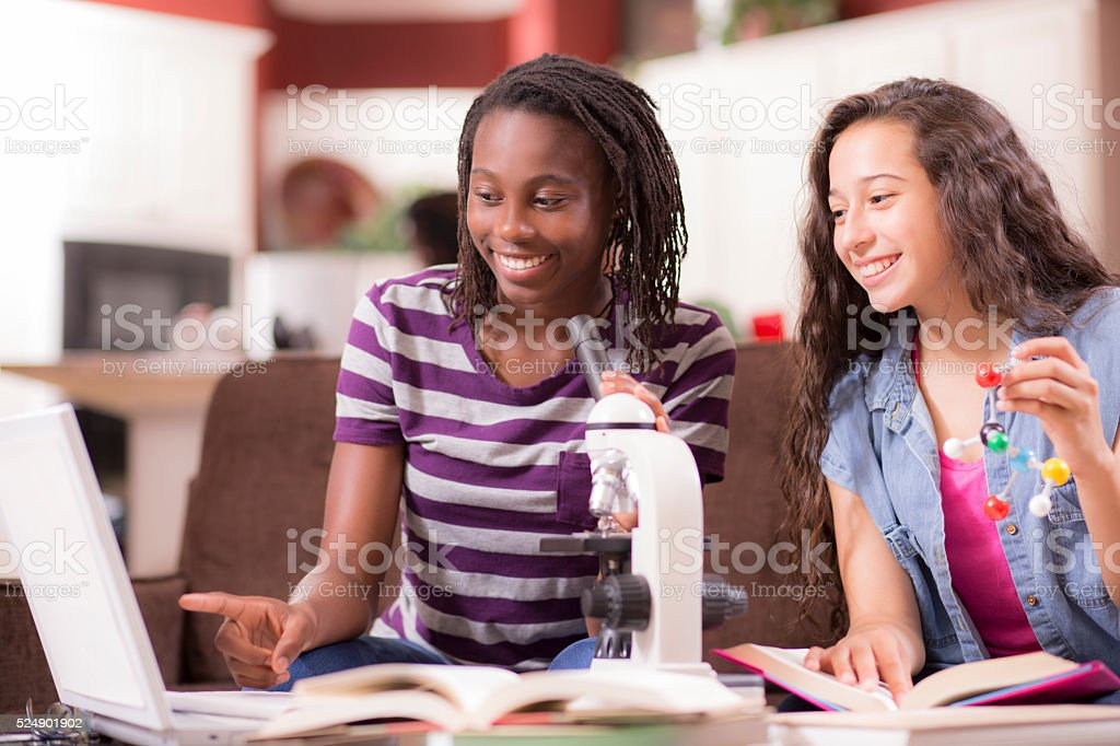 Education.  Teenage girls studying science at home. Homework. stock photo