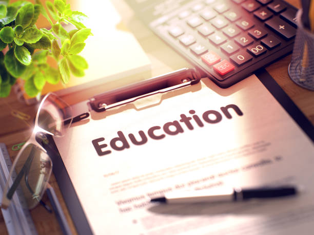 Education - Text on Clipboard. 3D stock photo