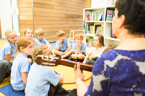 Education Uk Primary School Music Lesson Stock Photo - Download