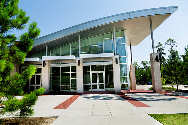 Education:  University building on campus. Or modern office. Modern stylish building on university campus.  Or modern office.    school exteriors stock pictures, royalty-free photos & images