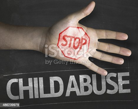 istock Educational and Creative composition with the message Stop Child Abuse 486239979
