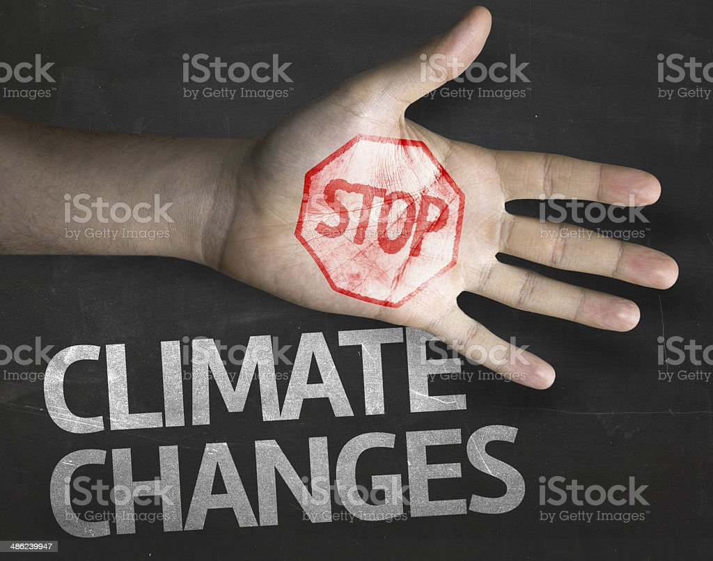 Educational and Creative composition with the message Stop Climate Changes stock photo