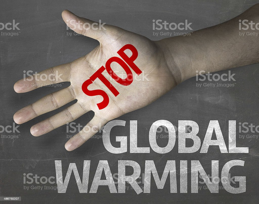 Educational and Creative composition with the message Stop Global Warming stock photo