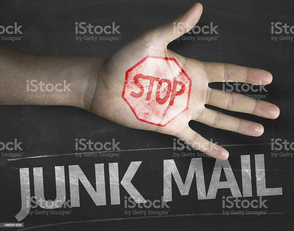 Educational and Creative composition with the message Stop Junk Mail stock photo