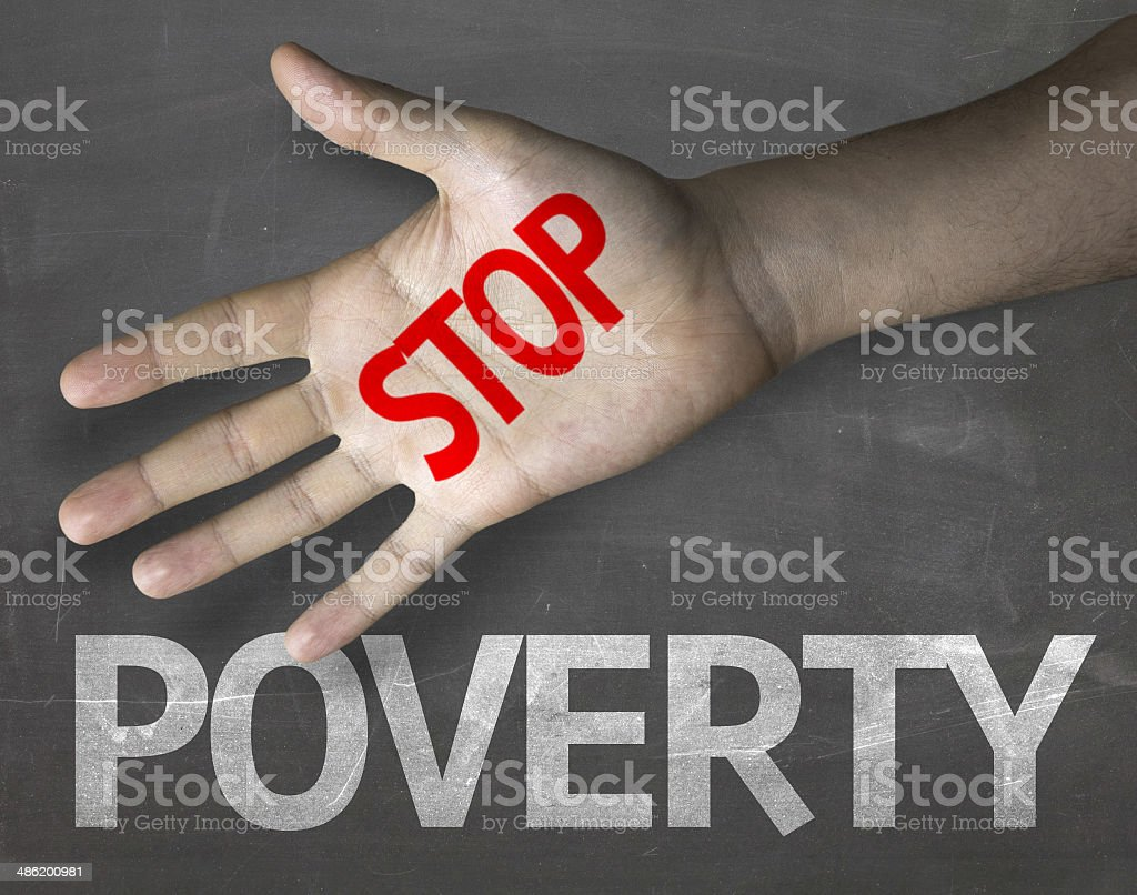 Educational and Creative composition with the message Stop Poverty stock photo