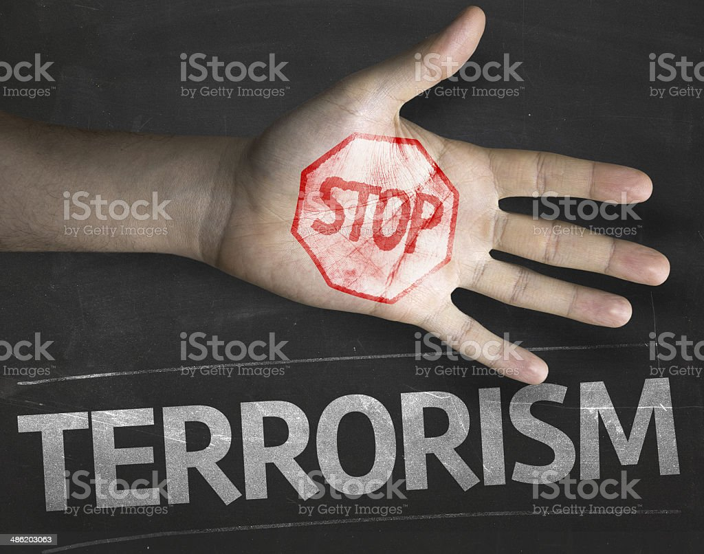Educational and Creative composition with the message Stop Terrorism stock photo