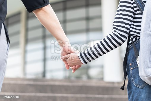 989255070istockphoto Educational Back to school or bring kid to work concept with elementary student girl carrying backpacks holding parent woman or mother's hand walking up school office building going to class 979620016