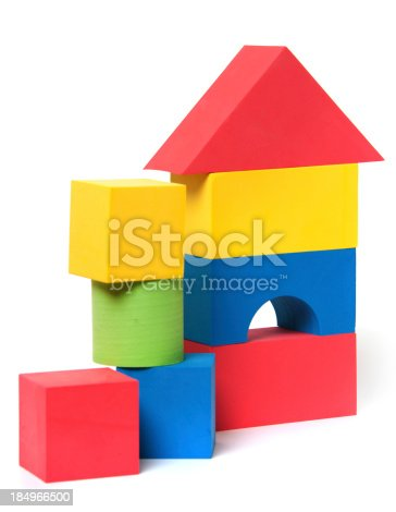 Colorful foam children's building blocks isolated on white background