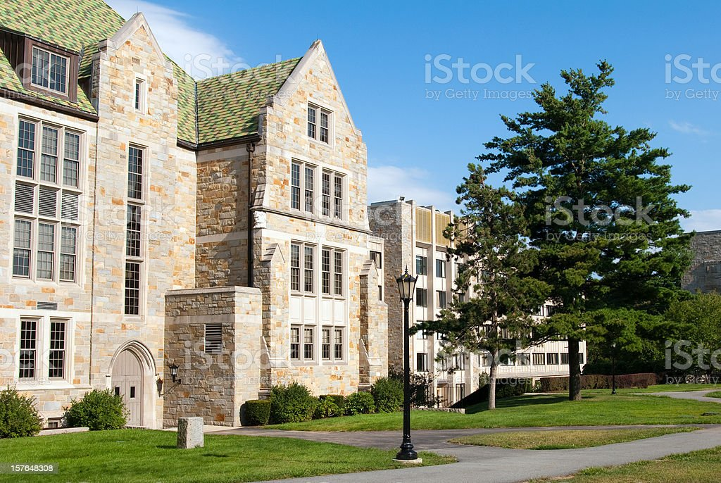 Educational building on Boston College campus in Chestnut Hill, MA stock photo
