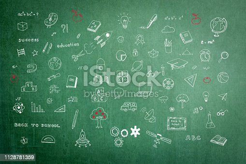istock Educational childhood imagination and inspiration with students' hand drawing doodle on teacher's school green chalkboard in class for daydreaming mind map and stem education concept 1128781359