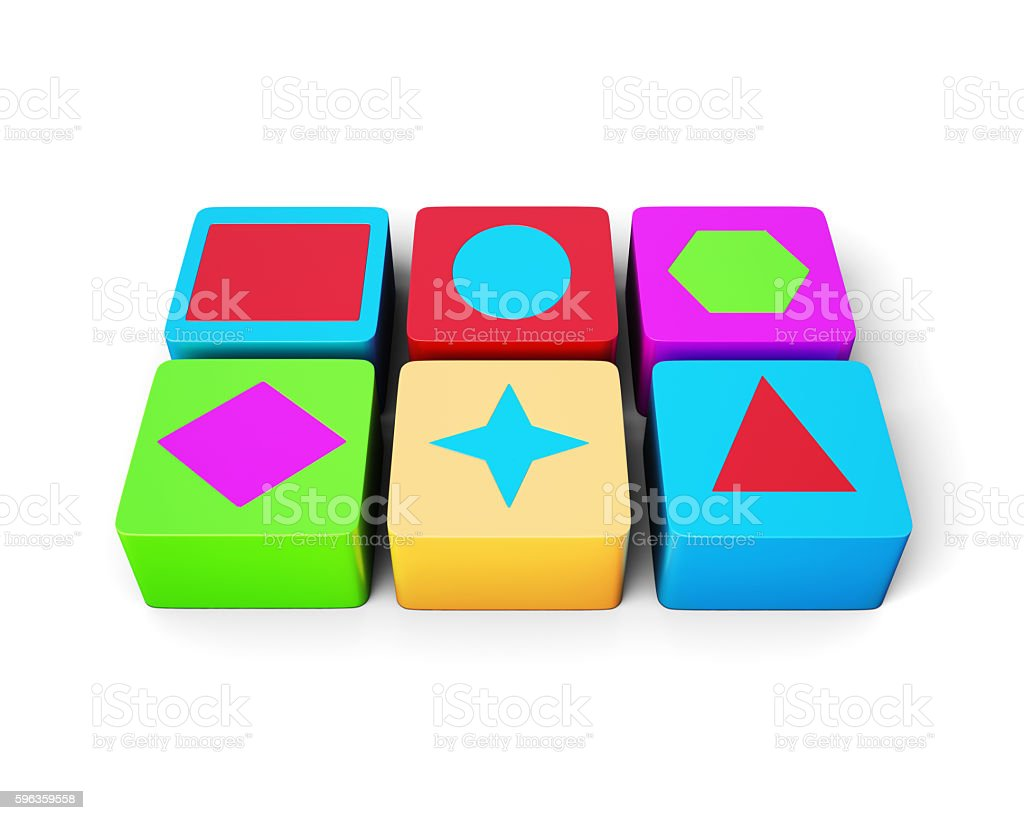Educational colorful cubes isolated on white background. 3d rend royalty-free stock photo