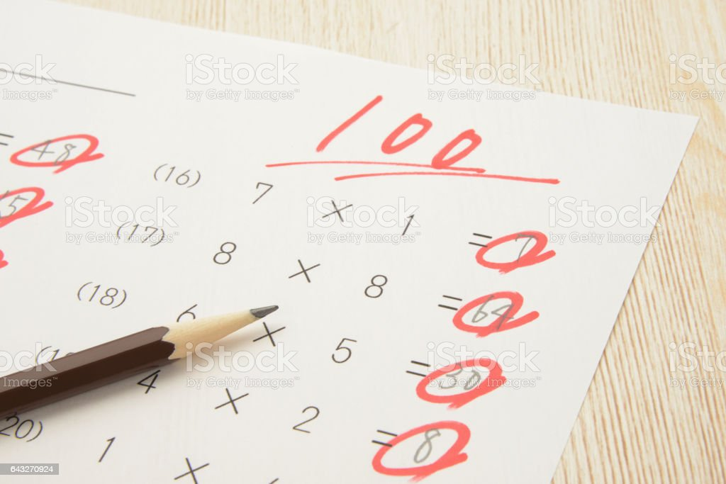 Educational concepts, math test with full score stock photo