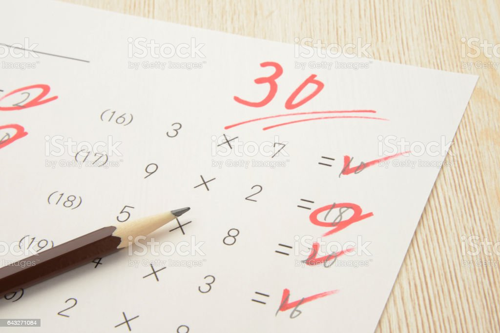 Educational concepts, math test with low score stock photo