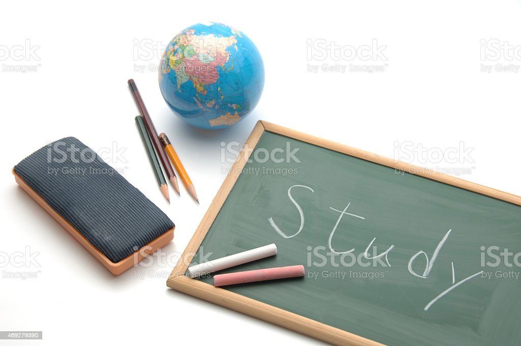 Educational images, balckboard with 'study' letters stock photo