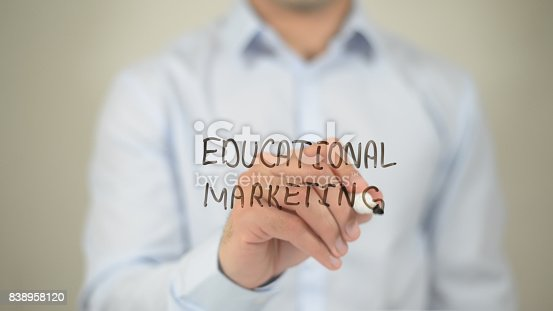 850892616 istock photo Educational Marketing , man writing on transparent screen 838958120