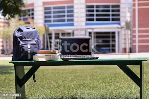 istock Educational objects on empty bench in front of school. 1021178080