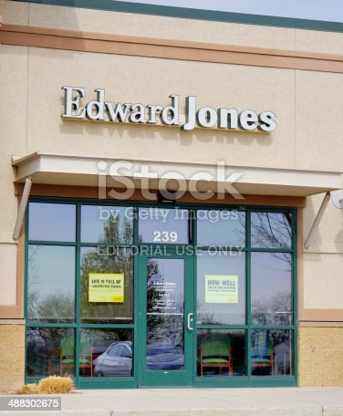 Loveland, Colorado, USA - May 3, 2014: The Edward Jones location in Loveland, Colorado. Founded in 1922, Edward Jones is a financial services firm with over $3.5 Billion in rvenues and 12,000 offices throughout the US and Canada.