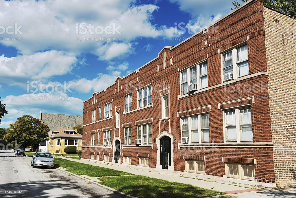 Edwardian apartment building in Avalon Park, Chicago royalty-free stock photo