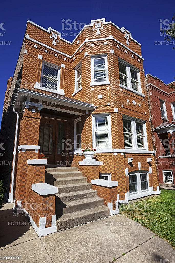 Edwardian Apartment building in Belmont Cragin, Chicago royalty-free stock photo