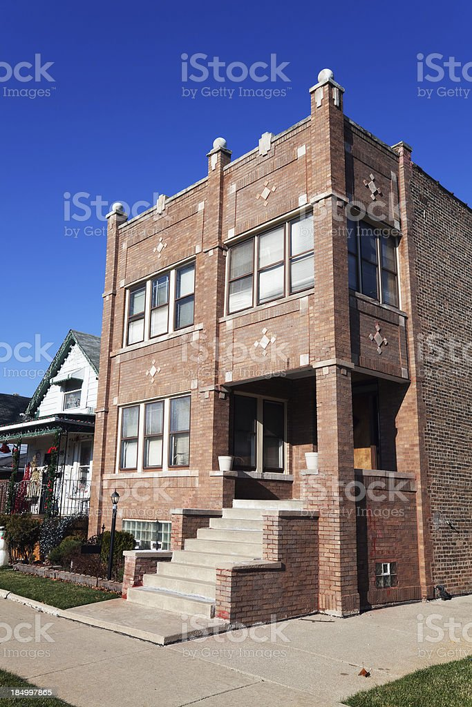 Edwardian apartment building  in Chatham, Chicago royalty-free stock photo