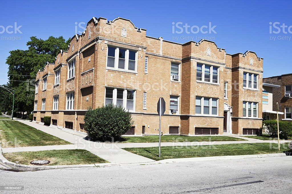 Edwardian Apartment Building in Clearing, Southwest Chicago royalty-free stock photo