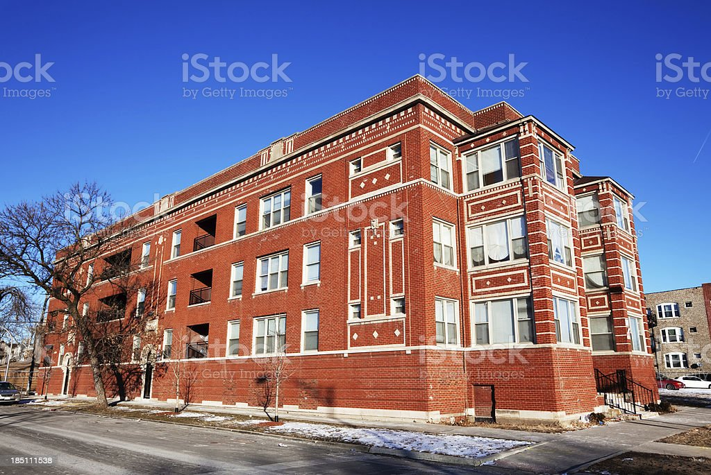 Edwardian Apartment Building in North Lawndale, Chicago royalty-free stock photo