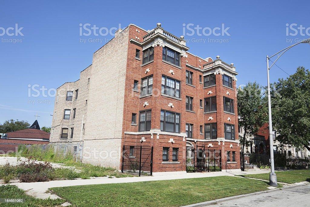 Edwardian apartment building in Washington Park, Chicago stock photo