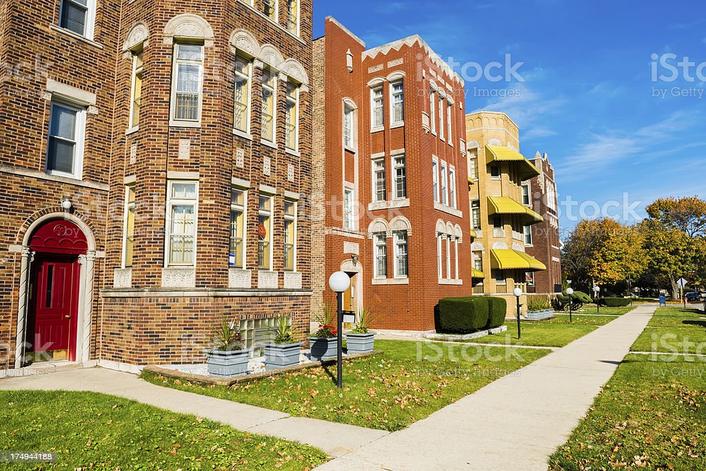 Edwardian Apartment Buildings in Calumet Heights, Chicago royalty-free stock photo