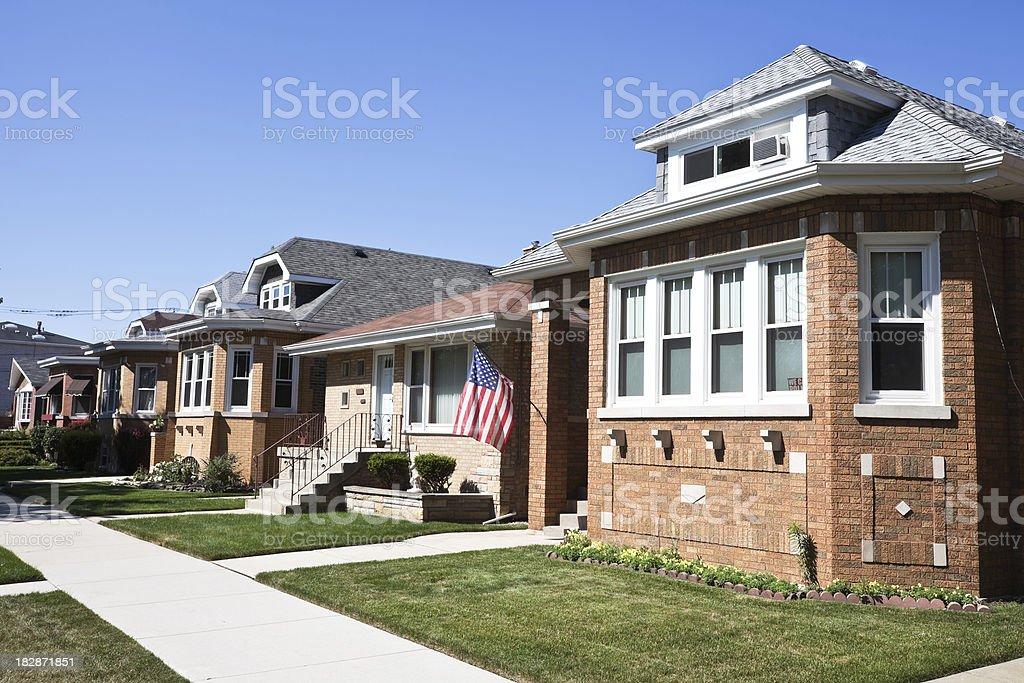 Edwardian Chicago Bungalow in Southwest Neighborhood royalty-free stock photo