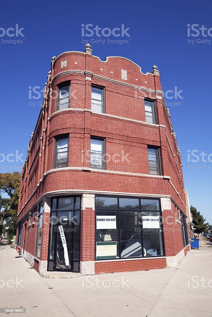 Edwardian commercial building for rent in Hegewisch, Chicago royalty-free stock photo