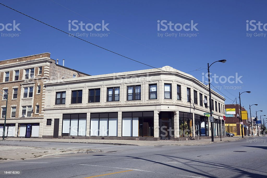 Edwardian commercial building on South Michigan Avenue in Rosela royalty-free stock photo