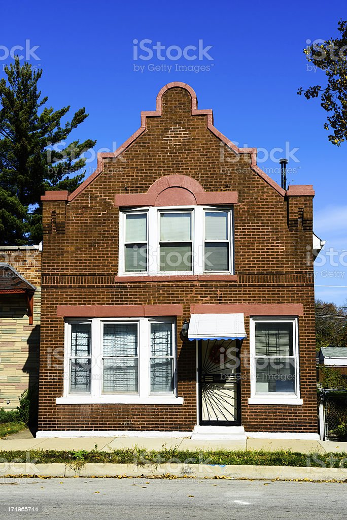 Edwardian Dutch Colonial house in Burnside, Chicago royalty-free stock photo