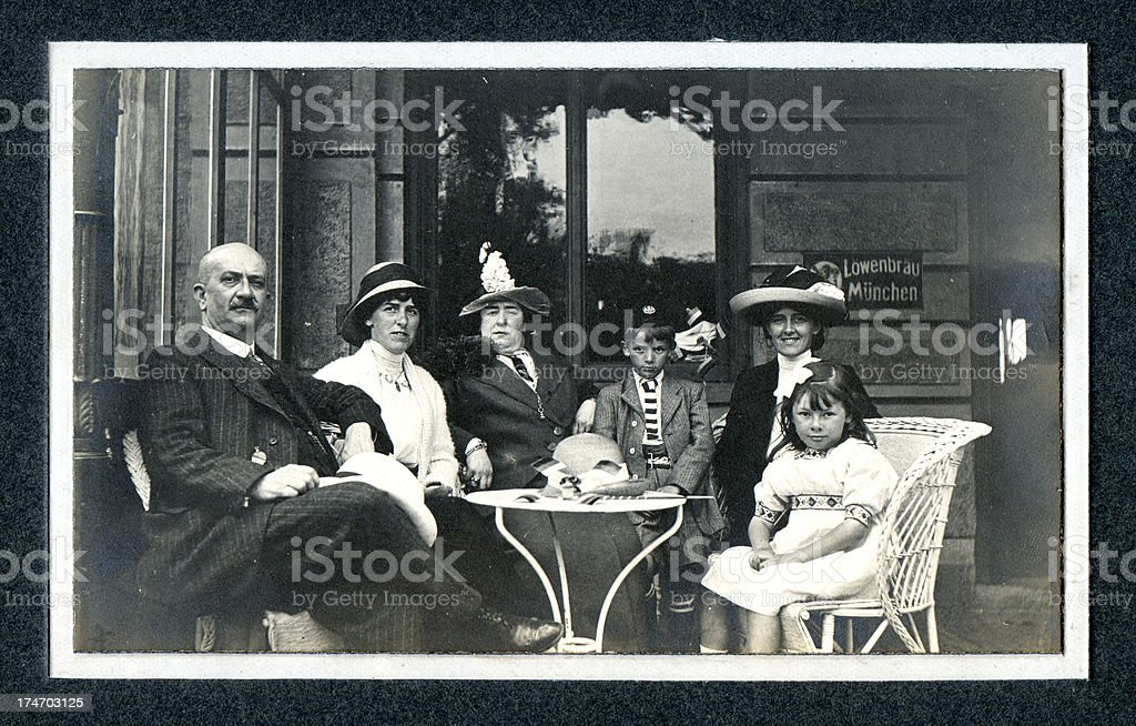 Edwardian Family at Cafe - Vintage Photograph stock photo