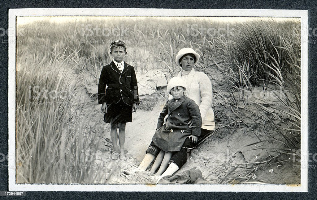 Edwardian Family at in the Sand Dunes - Vintage Photograph stock photo