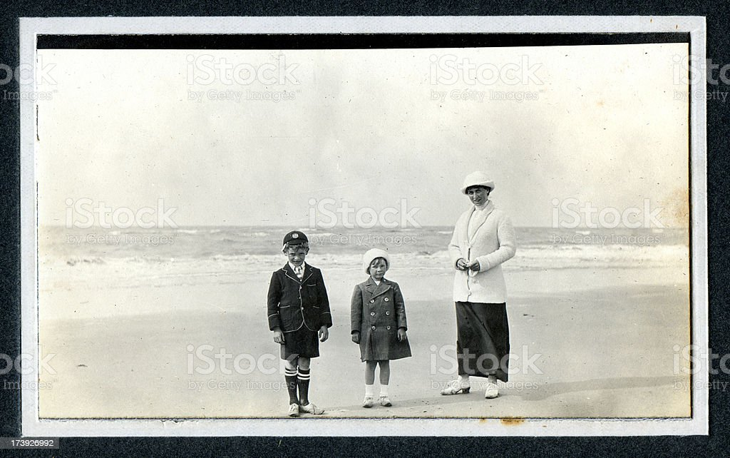 Edwardian Family at the Seaside - Vintage Photograph stock photo
