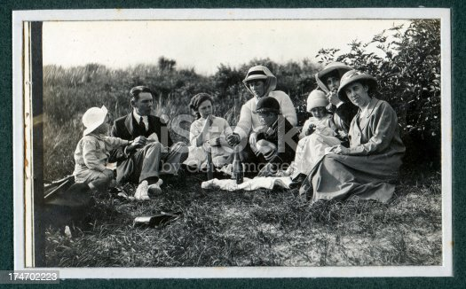 Vintage photograph of an Edwardian family having a picnic.